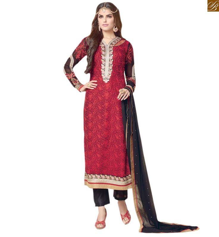 #Latest #dress #style #salwar kameez designs catalogue #suit red Georgette embroidered neck line salwar kameez with border line work and black brocket bottom Image