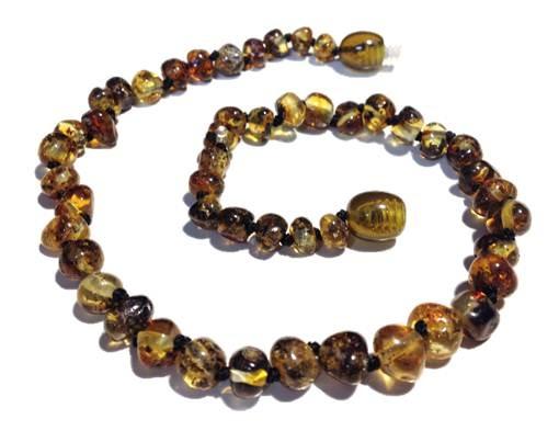 Genuine Baltic Amber Teething Necklace - Black Green