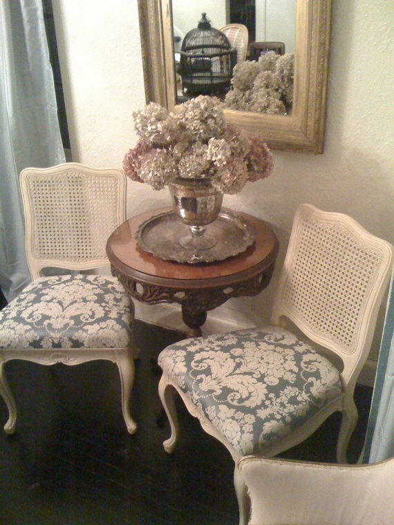 Reserved for Alexandra 04/02 Set of 4 Vintage Antique Cane back dining chairs painted and reupholstered in damask