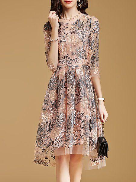 67ea7cdb7d Buy Midi Dress For Women from YZL Studio at Stylewe. Online Shopping Stylewe  Pink Crew