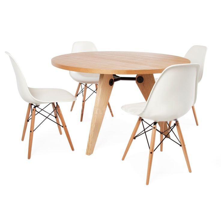 Conjunto Eames-prouve (mesa + 4 sillas dsw)