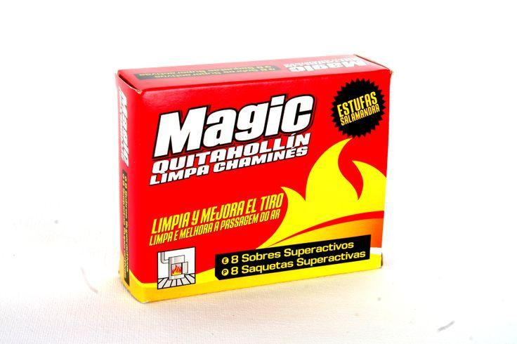 www.clubmagic.es MAGIC Quitahollín estufas son 8 sobres super activos, que limpian por dentro y mejoran el tiro de la estufa