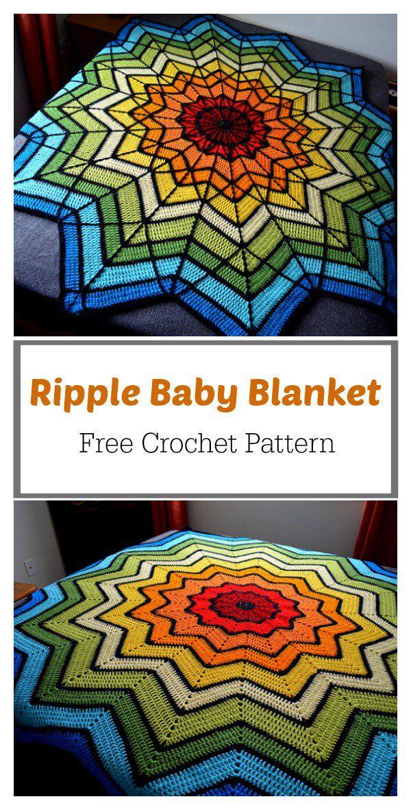 Stained Glass Ripple Baby Blanket Free Crochet Pattern Crochet