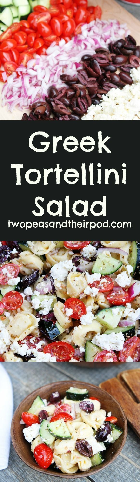 Greek Tortellini Salad Recipe This fresh and easy salad is made with cheese tortellini, tomatoes, cucumber, olives, red onion, feta cheese, and a simple Greek salad dressing. More easy, delicious  and healthy recipes @twopeasandpod #healthyrecipes #healthy
