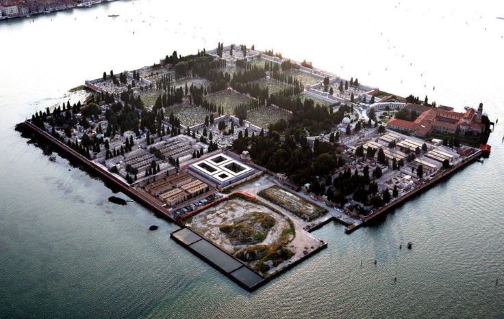 Sleeping Gardens: Island Cemetery of San Michele, Venice Italy. Since it is illegal to bury the dead in Venice , this island was designated as the cemetary for Venicians. It was once a prison.