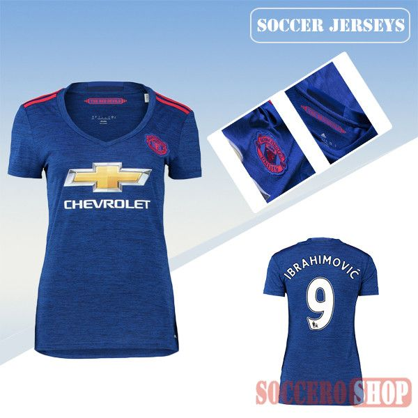 Newest Cool Manchester United Blue 2016/17 Away Womens Replica Jersey With Ibrahimovic 9 Printing | Personalised Replica