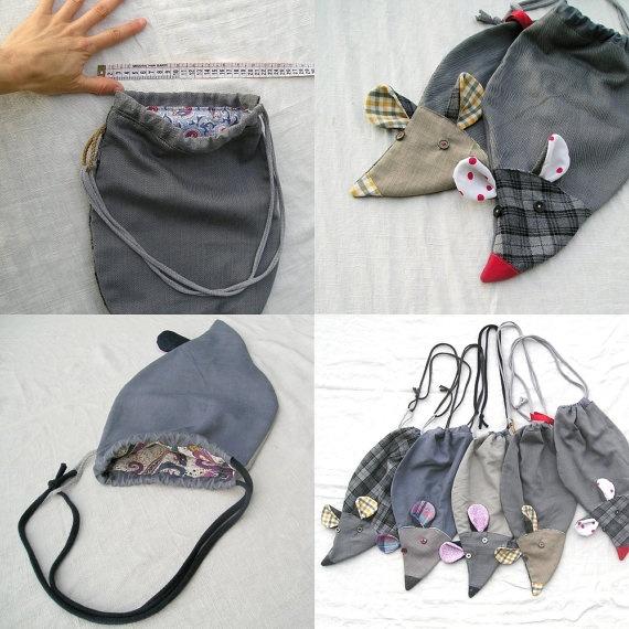 Rat bag from upcycled fabrics  Slipper bag  ready por LaGagiandra, €21.00