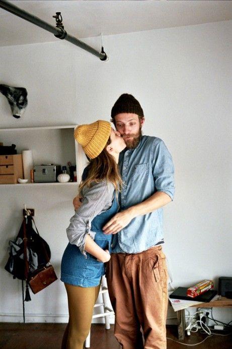 #couple #loveFashion Men, Fashion Style, Yellow Tights, Beards Love, Cute Couples, Men Fashion, Beanie, Denim Shorts, Kisses