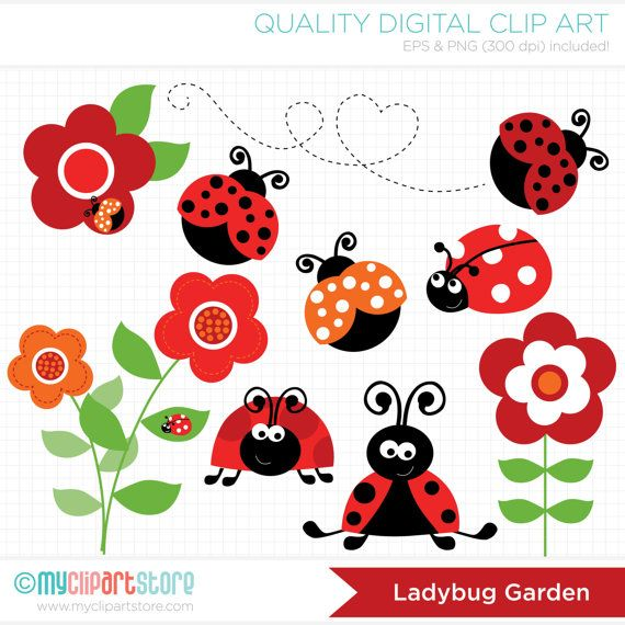 Ladybug Garden (Red) Clip Art / Digital Clipart - Instant Download