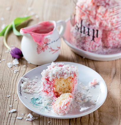 Coconut and white chocolate lamingtons