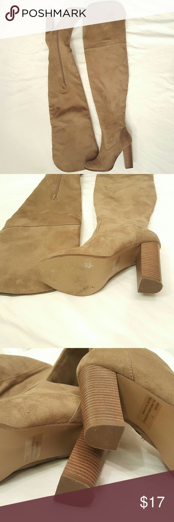 Charlotte Ruuse Thigh High Boots Worn twice. As you can see, very minimal wear on the soles. Charlotte Russe Shoes Over the Knee Boots