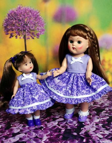 """Lavender Fields...for Ginny or Muffie Dolls A dress and bloomer set for Vogue Ginny 7.5"""" dolls in beautiful lavender. In stock now at www.karmelapples.com"""
