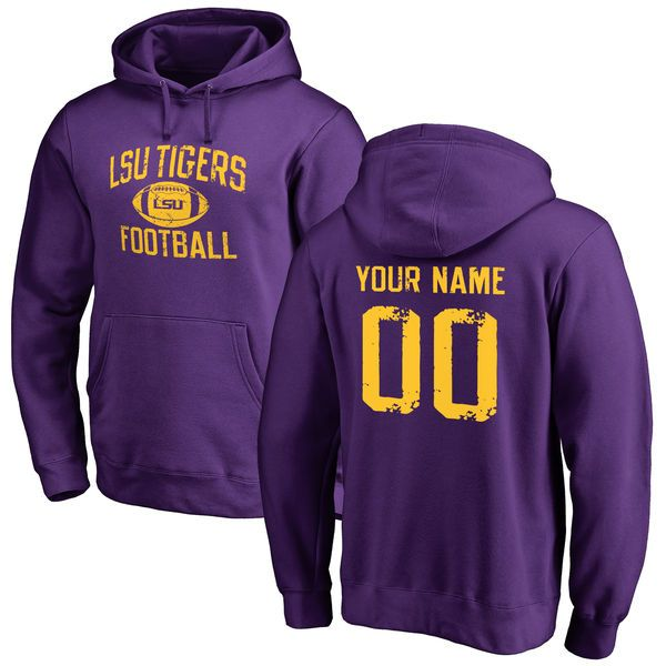 LSU Tigers Personalized Distressed Football Pullover Hoodie - Purple - $69.99