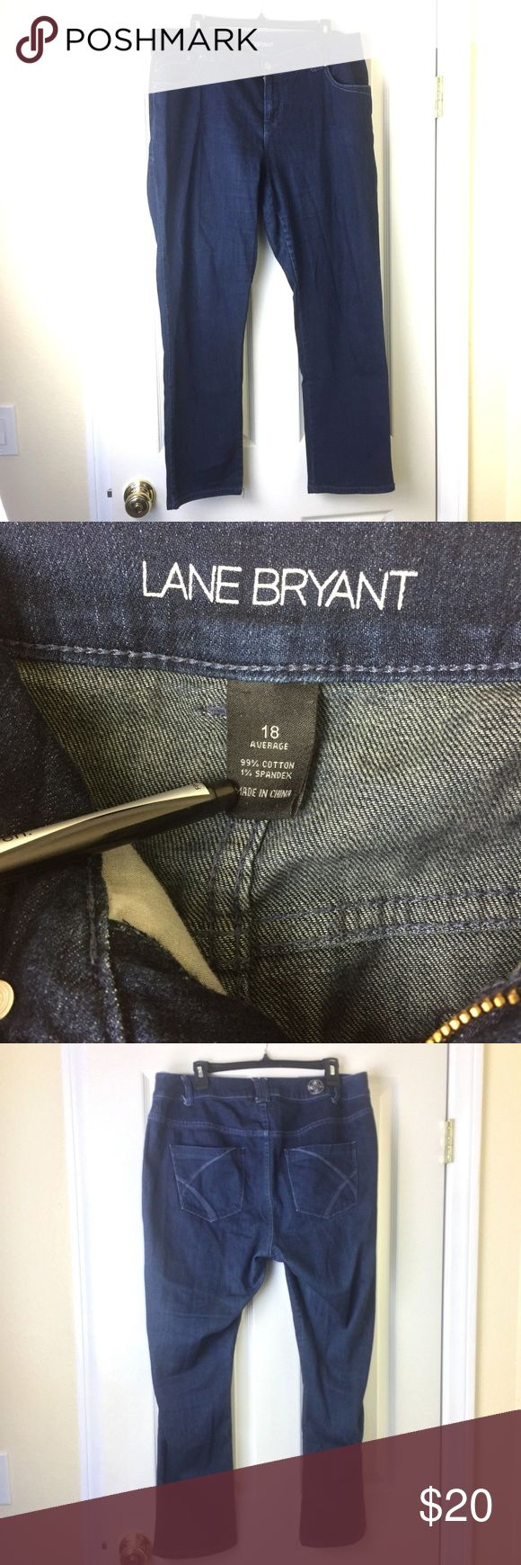 """Lane Bryant Women's Straight Stretch Jeans 18 Lane Bryant Women's Skinny Straight Jeans Stretch Denim Dark Blue Plus Size 18  In Great Pre-Owned Condition with no major flaws. No rips or stains. Please refer to the pictures for more condition info.  Approximate Measurements: (were taken with item laying flat and relaxed)  Waist - 37""""  Inseam - 29""""  Rise - 10"""" Bottom of pant leg opening - 8""""   Description: * Skinny Straight Jeans * Dark Blue Denim * Zipper front with button closure  * 5…"""
