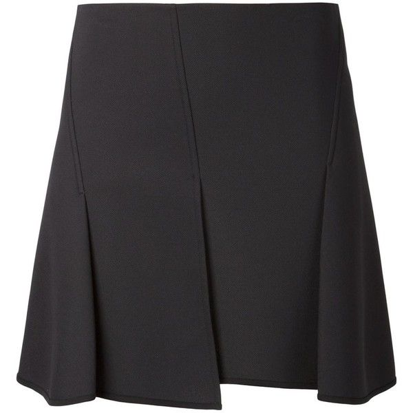 Alexander Wang panelled mini skirt (25,710 PHP) ❤ liked on Polyvore featuring skirts, mini skirts, black, pleated skirt, pleated a line skirt, a line skirt, short skirts and pleated mini skirt