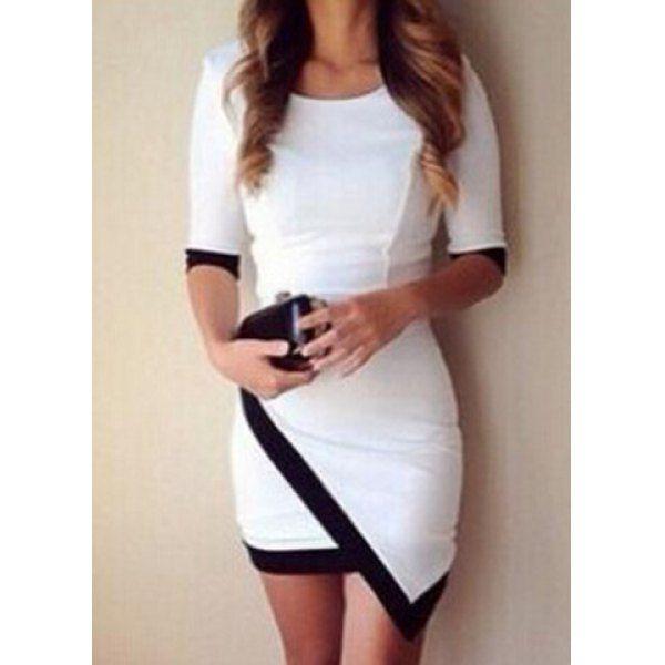 Simple Scoop Neck 1/2 Sleeve Color Block Bodycon Women's Dress