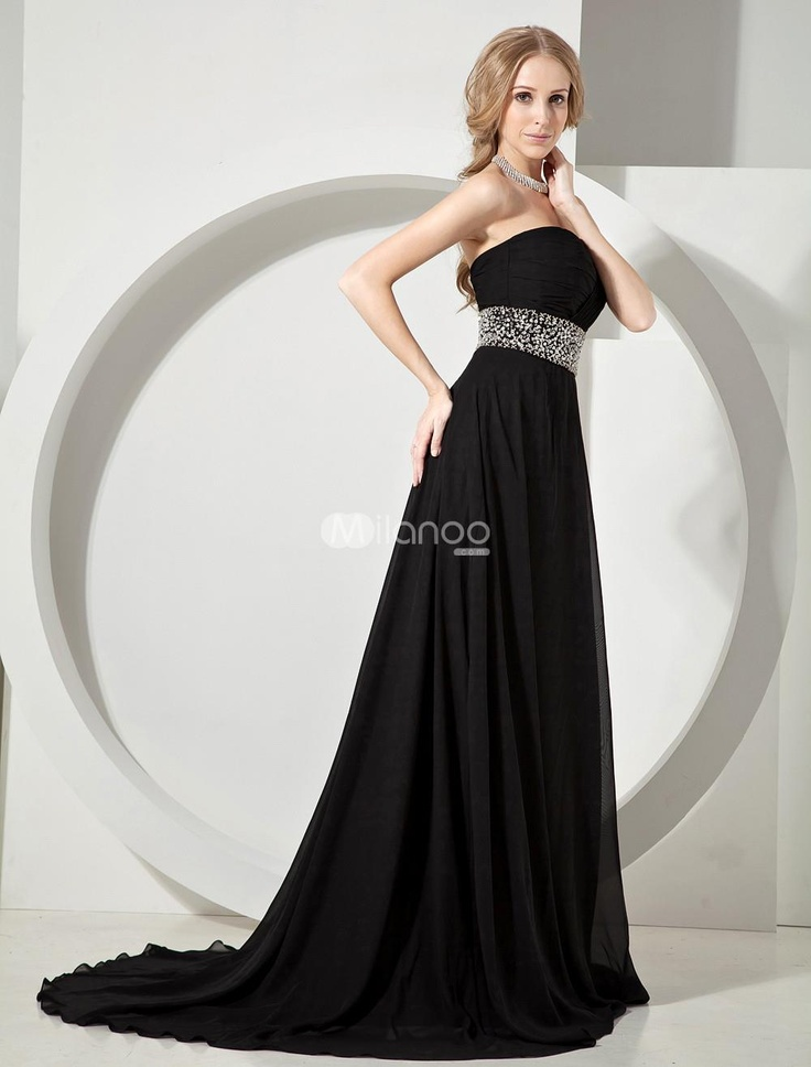 Elegant Black Beading Strapless Chiffon Womans Evening Dress. Elegant Black Beading Strapless Chiffon Womans Evening Dress. See More Strapless at http://www.ourgreatshop.com/Strapless-C967.aspx
