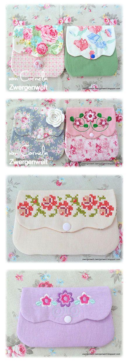 I am loving these pretty little embroidered pouches! ..... Der Stickbär | Designbeispiel: Grosse Taschenspielereien