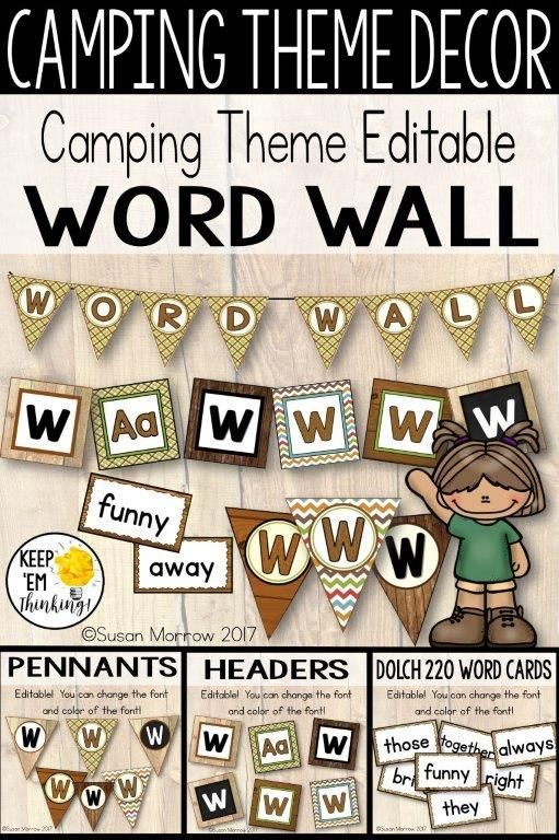 Camping Theme Word Wall, Camping Theme Classroom Decor, Word Wall
