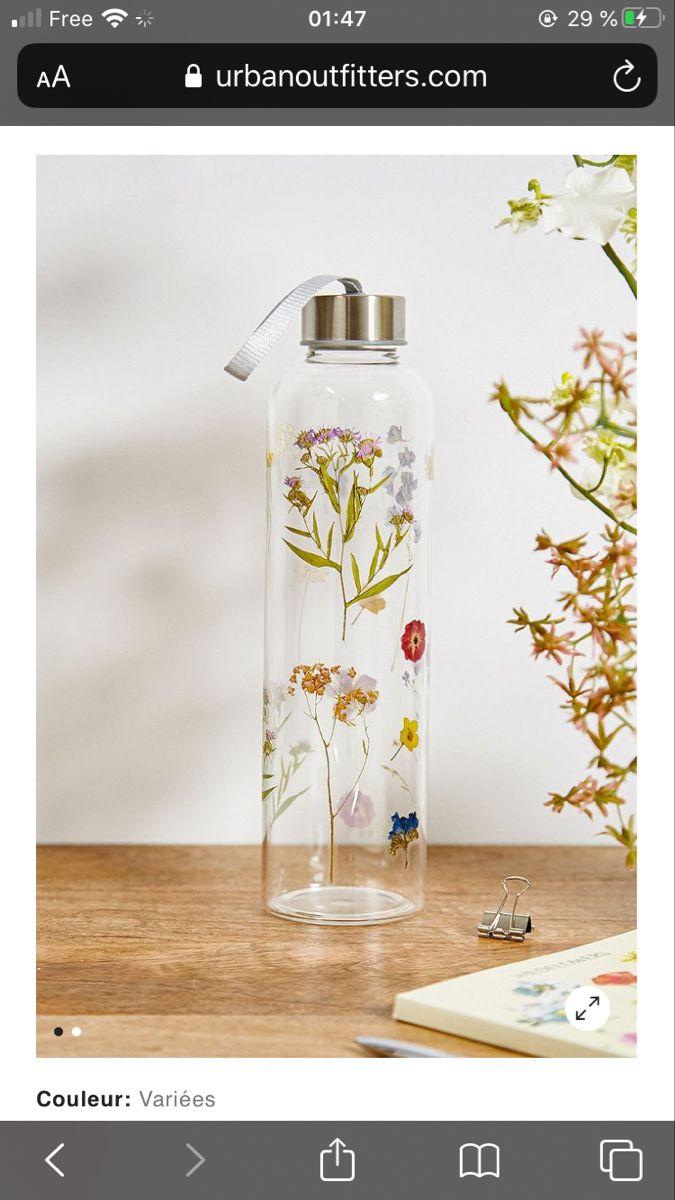 Gourde En Verre Motif Fleurs Sechees 740ml Glass Water Bottle Water Bottle Bottle
