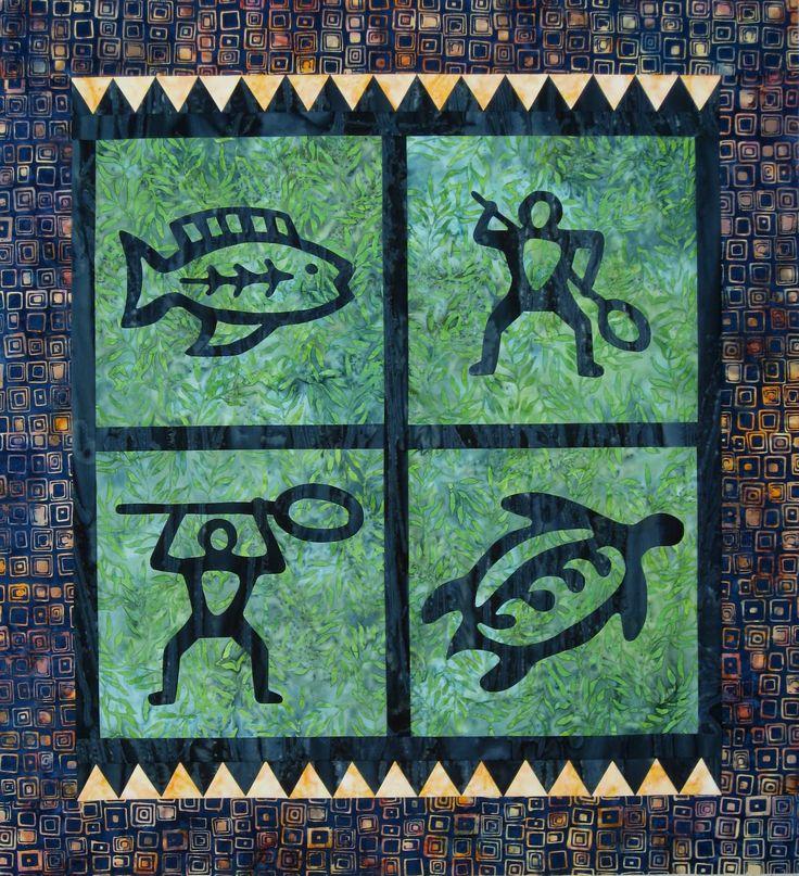 Paddler's Petroglyphs by Barbara Bieraugel: Barbara Bieraugel, Quilts Inspiration, Applique Quilts, Paddler Petroglyph, Quilts Blocks, Bieraugel Designs, Hawaiian Islands, Quilts Design, Quilts Hawaiian Quilts