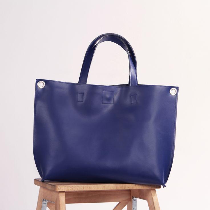 "Blue Leather Crossbody Tote Bag ""Michelle Indigo"", Oversized Shopping Bag, Handmade Tote, Women Laptop Bag, Crossbody Shopper"