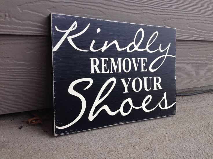"Kindly Remove Your Shoes Sign Distressed Black & Off White, (Large) 14"" length x 10"" wide by UpcycledRelic on Etsy"