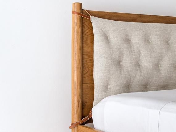 Tufted Headboard Cushion With Leather Ties Bench Back Rest Etsy