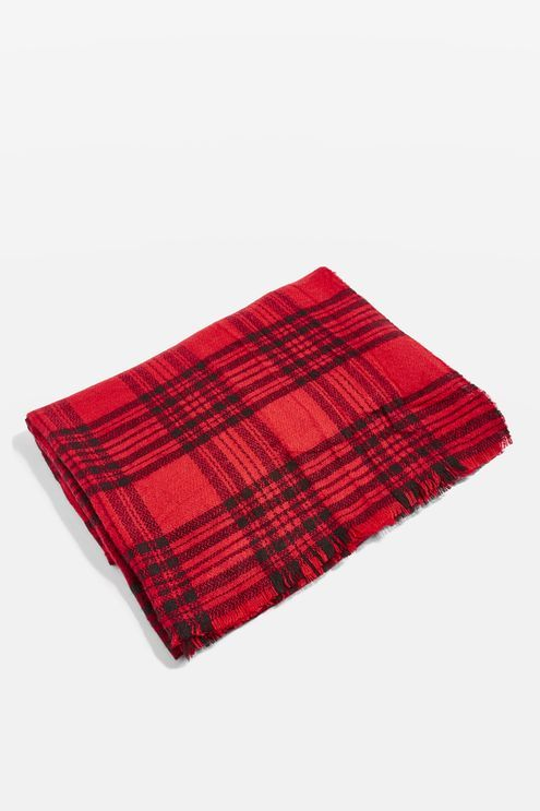 Red Checked Midweight Scarf