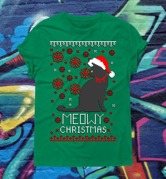 Funny Christmas Ugly Sweater T-shirt Meowy by kitschklothing