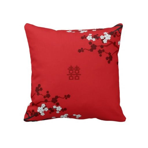 Cherry Blossoms Double Happiness Chinese Wedding Throw Pillow Cushion Home Decor Custom Gift by fatfatin