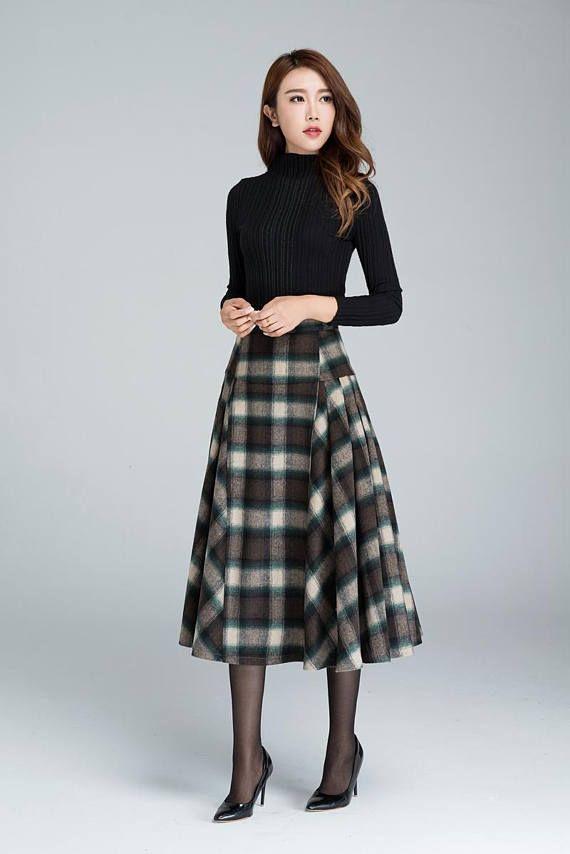 9d36267d2a DETAILS: * grid wool skirt * polyester lining * fitted waist * back zipper *