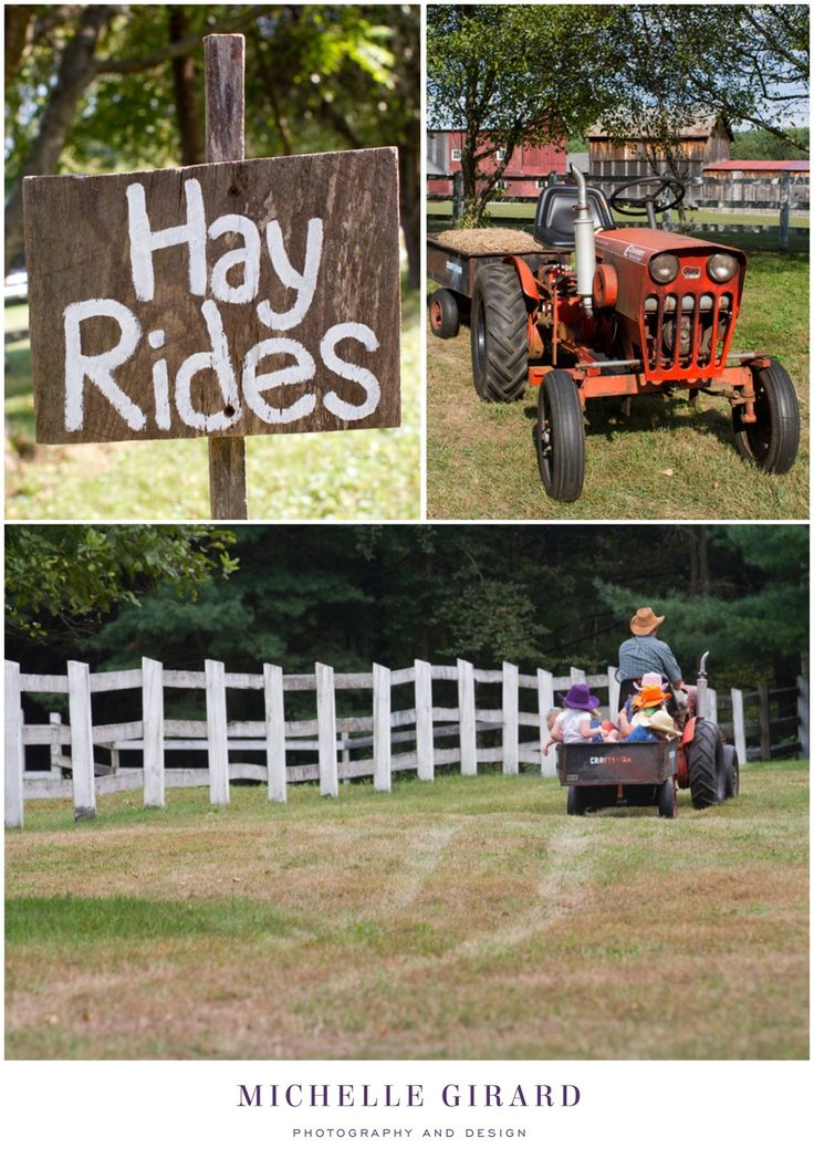 Kids Country Hoedown Themed Birthday Party :: Wooden signs for different birthday activities :: Hayrides on a farm tractor :: Michelle Girard Photography