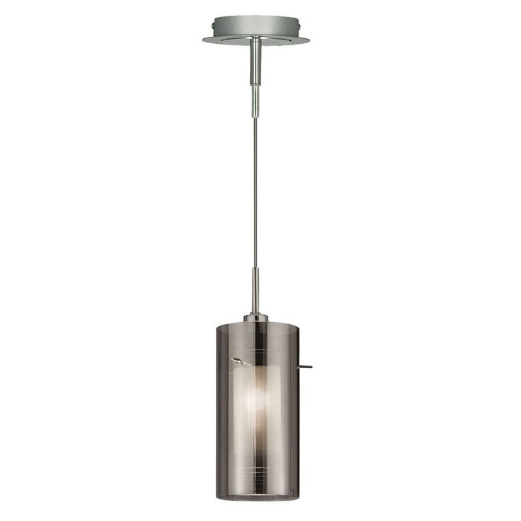 Searchlight 2301SM Duo 2 Chrome Pendant Light With Smoked Glass Cylinder Shade Dushka Ltd