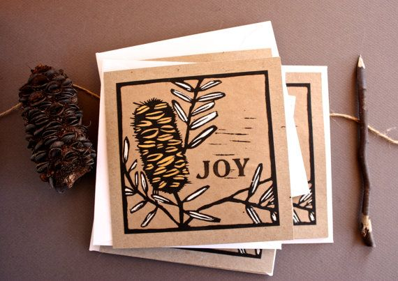 Linocut Christmas Cards Pack of 4 Hand Coloured by trees4thewood