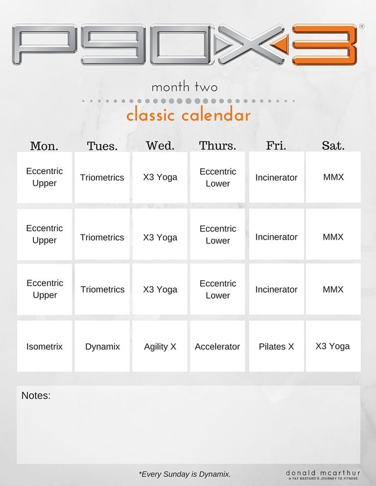 Download a free P90x3 Calendar for your fitness journey. Simple design for regular letter size (8.5 x 11).