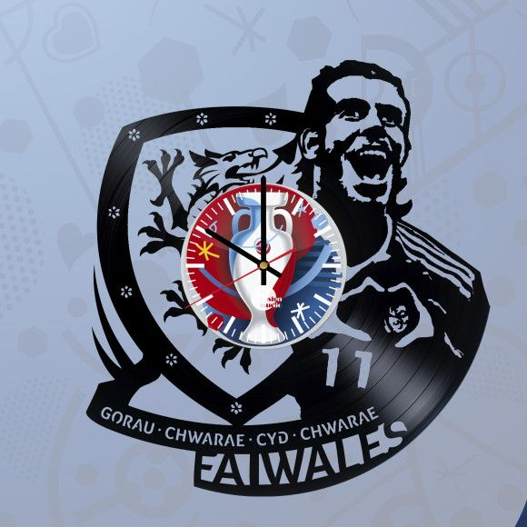 Gareth Bale Wales national football team The Dragons EURO 2016 Handmade Vinyl Record Wall Clock - VINYL CLOCKS