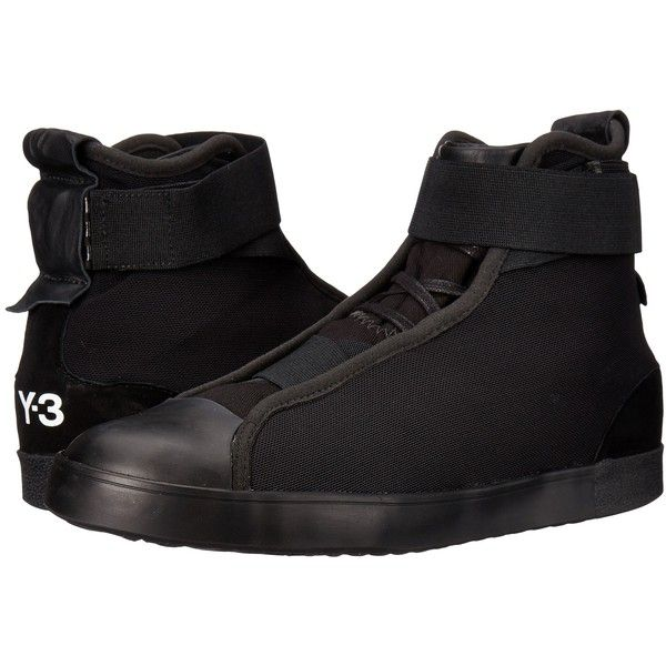 adidas Y-3 by Yohji Yamamoto Loop Court Hi (Core Black/Core Black/Core... ($153) ❤ liked on Polyvore featuring shoes, sneakers, black, adidas trainers, black high top sneakers, black laced shoes, lace up sneakers and black high tops