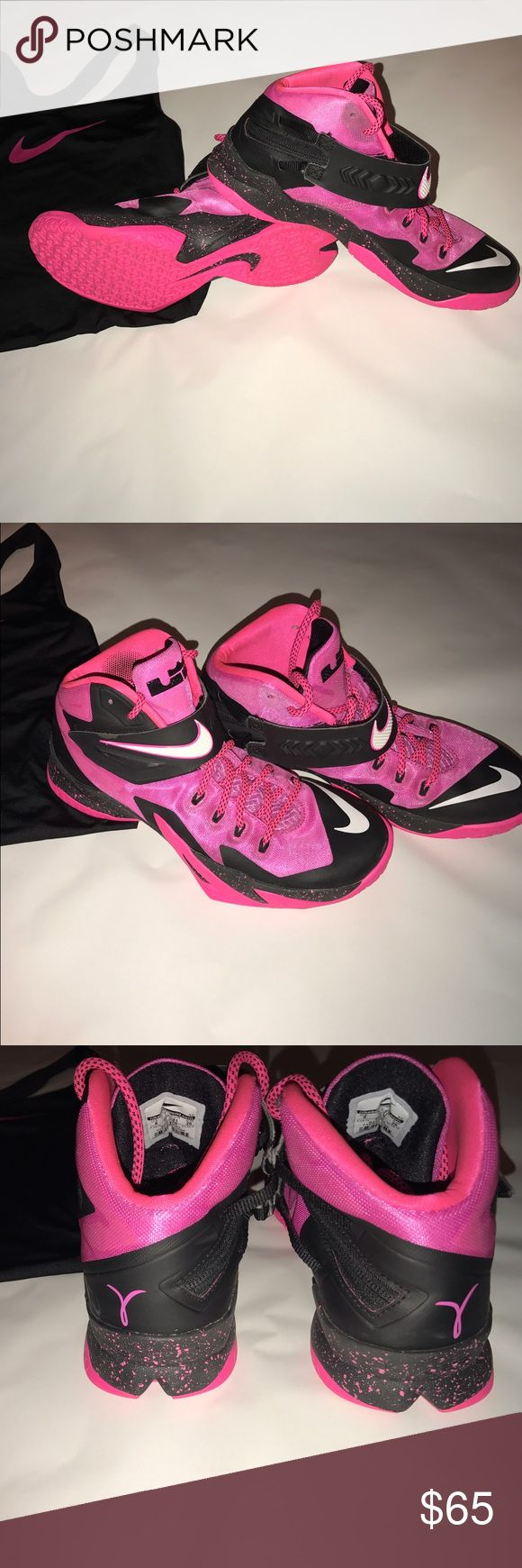 Nike Zoom S-8 Basketball Shoes Pink Basketball Shoes; Nike Zoom S-8; Barely worn; Breast Cancer Awareness logo on back; !!!SHOE SIZE RUNS BIG!!!! (I wear a size 9 and they fit me) Nike Shoes Athletic Shoes