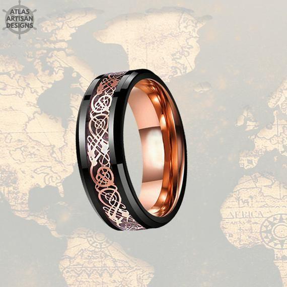 Free Engraving Gold Titanium Celtic Dragon Wood Inlay Wedding Band Ring