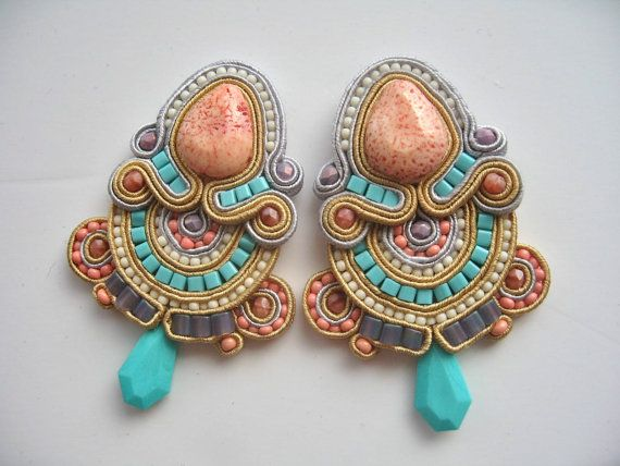 CANDY pastel soutache earrings in turquoise and coral