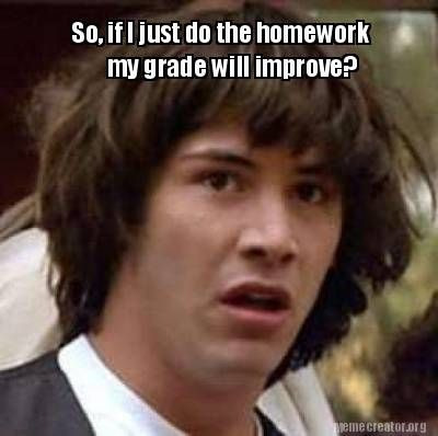 Meme Creator - So, if I just do the homework my grade will improve?