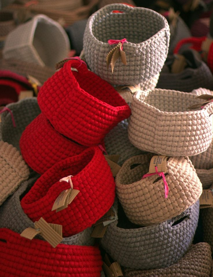 Textile baskets made in Kuchinate,a collective of asylum seeking women in southern Tel Aviv