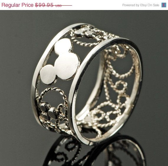 Wedding Sale Mickey Mouse Ring - Filigree Ring - Disney Ring - Mens Ring - Thumb Ring - Argentium Sterling Silver - Handmade via Etsy LOVE THIS!!❤