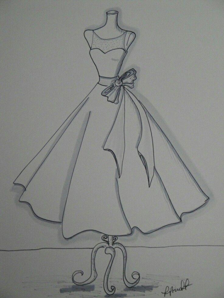 Картинки вечерние платья карандашом