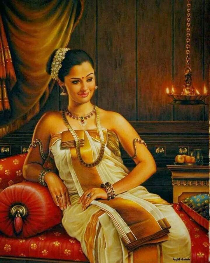 A Painting of A Raja Mata (Queen) of Travancore By Raja Ravi Varma (Famous Artist of India). A Peek into The Clothing Style Prevalent During Those Days in Kerala...!!! Beautiful... :) Isn't She..???