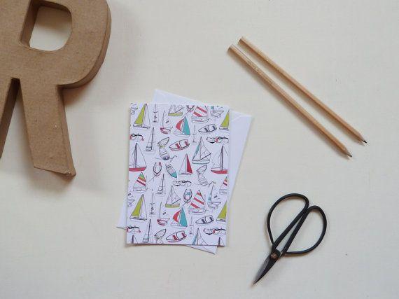 Sailing Boat Pattern Greeting Card by RachelAliHawkins on Etsy