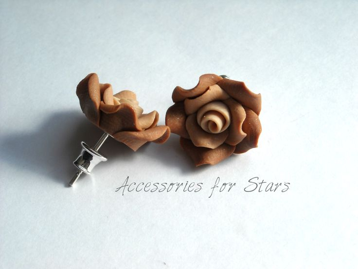 http://accessoriesforstars.blogspot.ro/2015/01/cercei-cappuccino-rose.html #cappuccino #roses #polymer #paste #earrings #silver #accessoriesforstars #gradient