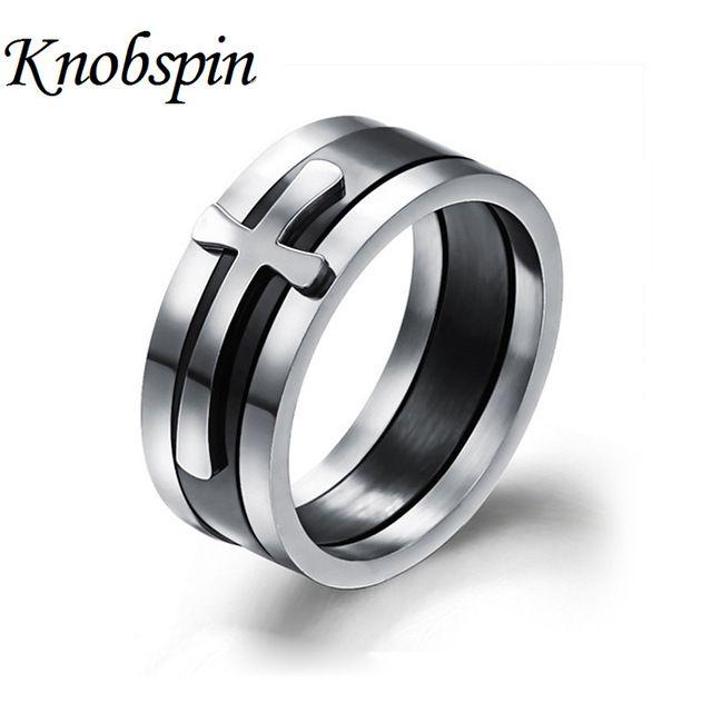 Три-в-одном кольца с Крестом Высокое качество большой размер 8 мм 316 Titanium Стали креста кольцо диапазона мужчины изысканные ювелирные изделия кольца
