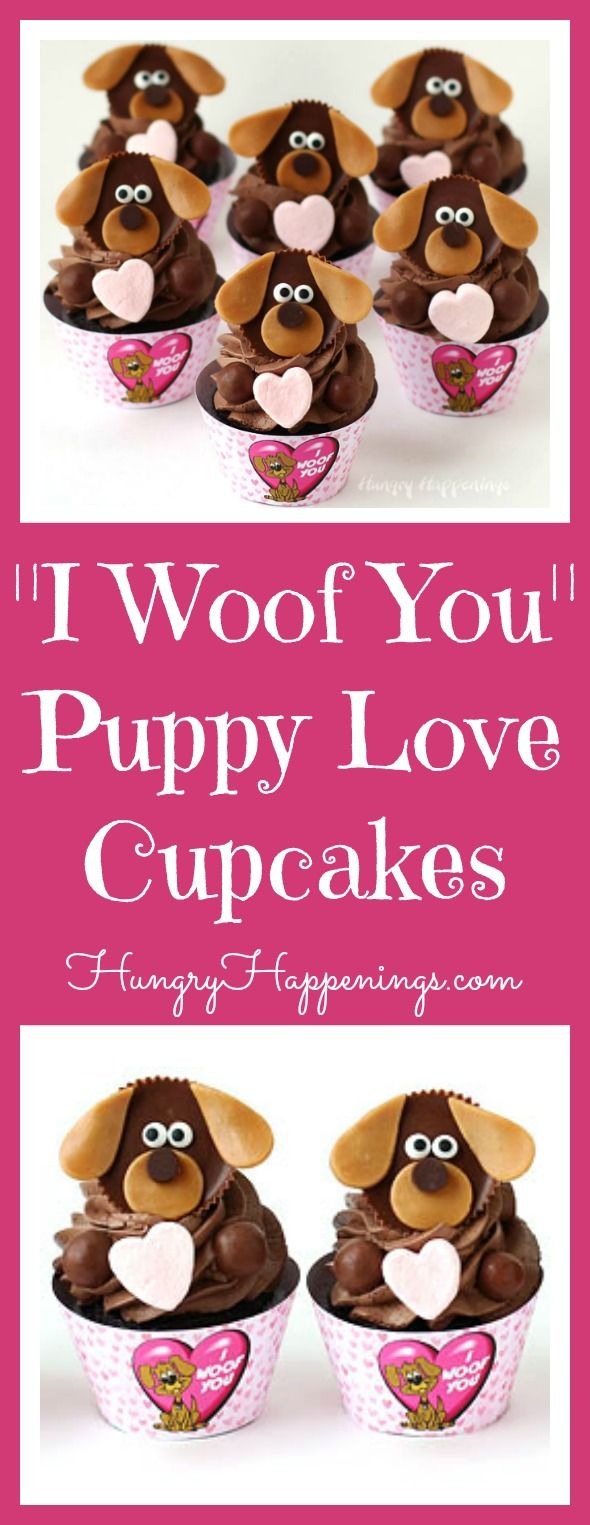 "You still have enough time before Valentine's Day to turn store bought or homemade cupcakes into these sweet Puppy Love Cupcakes with ""I Woof You"" wrappers."